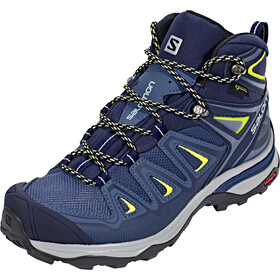 Salomon X Ultra 3 Mid GTX Sko Damer, crown blue/evening blue/sunny lime